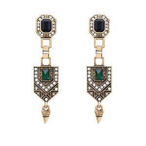 Vintage Art Deco Emerald Earrings
